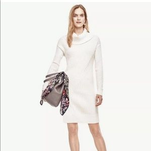 NWT ANN TAYLOR Ribbed  Sweater Dress PXL Ivory